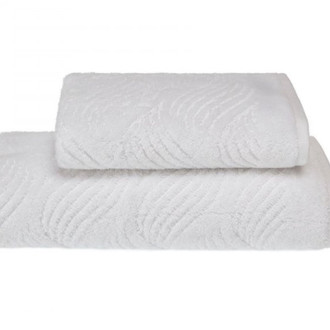 Полотенце для ванной Soft Cotton WAVE хлопковая махра (белый)