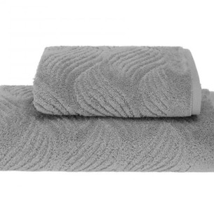 Полотенце для ванной Soft Cotton WAVE хлопковая махра серый 50х100