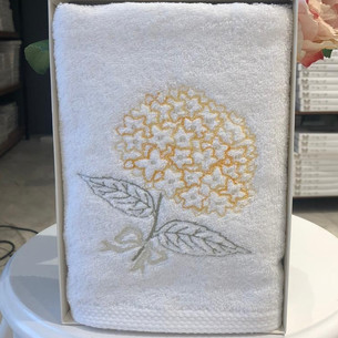 Полотенце для ванной в подарочной упаковке Tivolyo Home ORTANCA хлопковая махра жёлтый 50х100