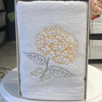 Полотенце для ванной в подарочной упаковке Tivolyo Home ORTANCA хлопковая махра жёлтый