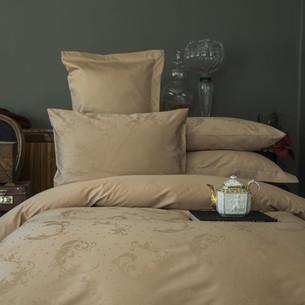 Постельное белье Issimo Home BELUGA хлопковый сатин-жаккард делюкс бежевый евро