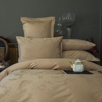Постельное белье Issimo Home BELUGA хлопковый сатин-жаккард делюкс бежевый