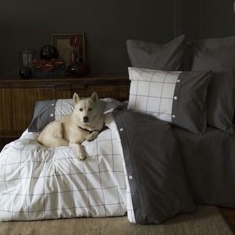 Комплект постельного белья Issimo Home SOREN хлопковый пестротканный сатин серый+белый