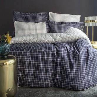 Комплект постельного белья Issimo Home SATIN COSMOPOLIT хлопковый сатин делюкс тёмно-серый+белый