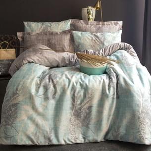 Постельное белье Issimo Home SATIN HERRA хлопковый сатин делюкс серый+белый+голубой евро