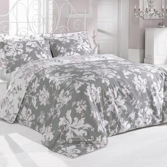 Комплект постельного белья Issimo Home SATIN ROSY хлопковый сатин делюкс серый+розовый