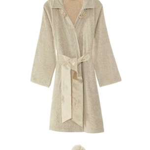 Халат женский с тапочками Soft Cotton ROSE хлопковая махра карамельный M