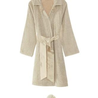 Халат женский с тапочками Soft Cotton ROSE хлопковая махра карамельный