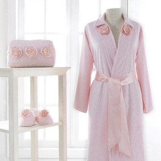 Халат женский с тапочками Soft Cotton ROSE хлопковая махра розовый