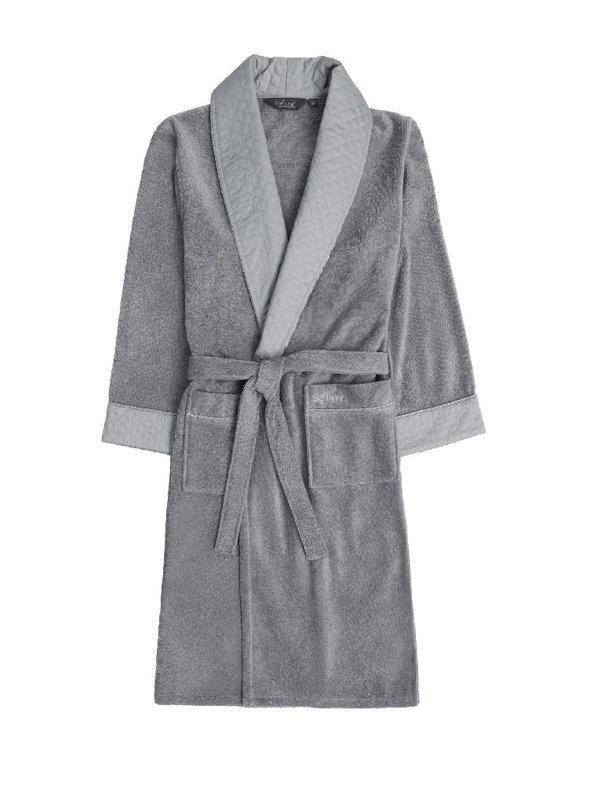 Халат мужской Soft Cotton CLASS хлопковая махра серый S, фото, фотография