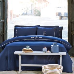 Постельное белье Tivolyo Home ANCORA хлопковый люкс-сатин тёмно-синий евро