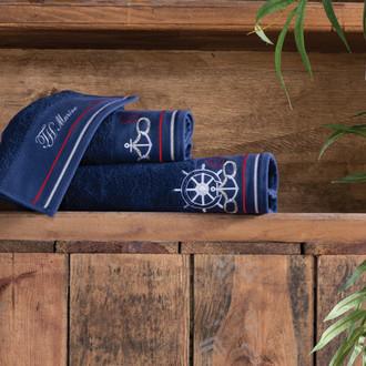 Подарочный набор полотенец для ванной 2 пр. Tivolyo Home NAVY хлопковая махра (тёмно-синий)