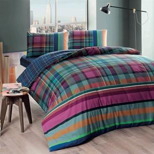 Комплект подросткового постельного белья TAC HARLIE хлопковый ранфорс фуксия евро
