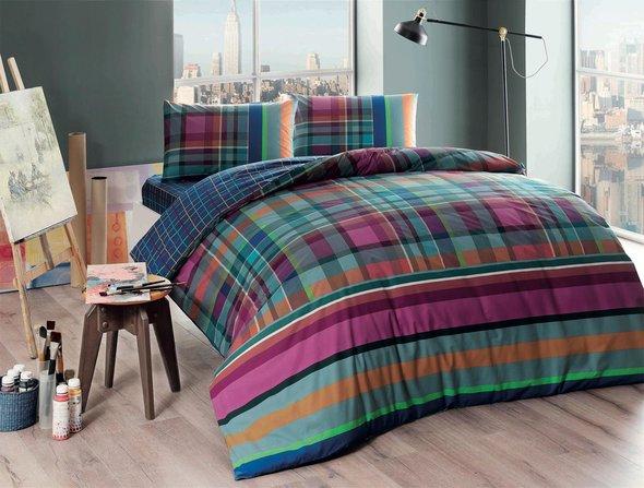 Комплект подросткового постельного белья TAC HARLIE хлопковый ранфорс фуксия евро, фото, фотография