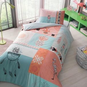 Комплект подросткового постельного белья TAC DOLLY хлопковый ранфорс персиковый 1,5 спальный