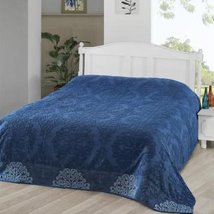 Махровая простынь-покрывало для укрывания Karna OTTOMAN хлопок синий 160х220