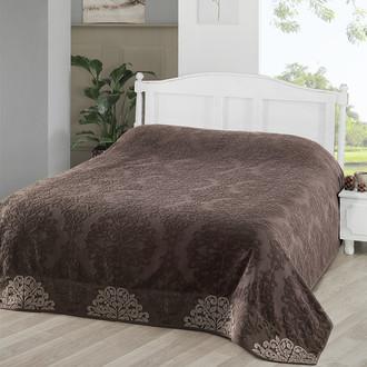 Махровая простынь-покрывало для укрывания Karna OTTOMAN хлопок тёмно-коричневый