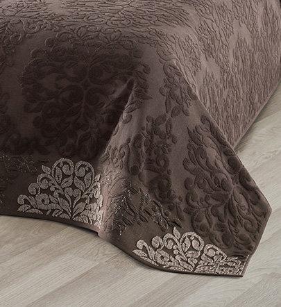 Махровая простынь-покрывало для укрывания Karna OTTOMAN хлопок тёмно-коричневый 200х220, фото, фотография
