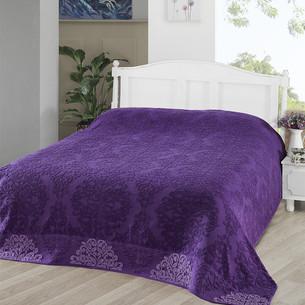 Махровая простынь-покрывало для укрывания Karna OTTOMAN хлопок фиолетовый 200х220