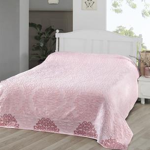 Махровая простынь-покрывало для укрывания Karna OTTOMAN хлопок розовый 160х220