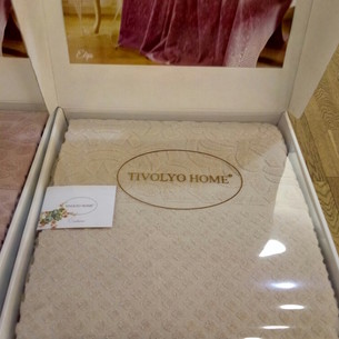 Махровая простынь-покрывало для укрывания Tivolyo Home ELIPS ПВХ хлопок бежевый 160х220