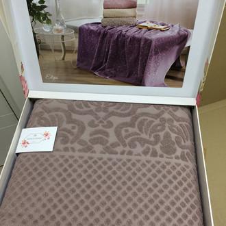 Махровая простынь-покрывало для укрывания Tivolyo Home ELIPS ПВХ хлопок (коричневый)