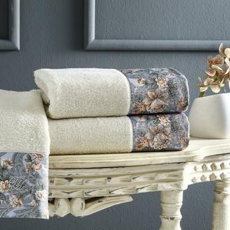 Подарочный набор полотенец для ванной 3 пр. + спрей Tivolyo Home ANIKA хлопковая махра (бежевый)
