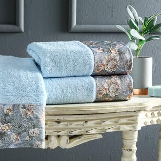 Подарочный набор полотенец для ванной 3 пр. + спрей Tivolyo Home ANIKA хлопковая махра (голубой)