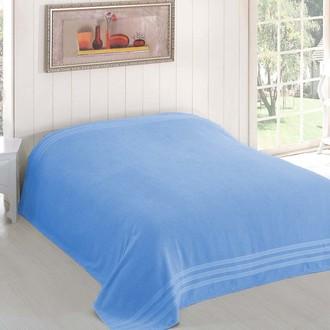Махровая простынь-покрывало для укрывания Karna PETEK махра хлопок (голубой)
