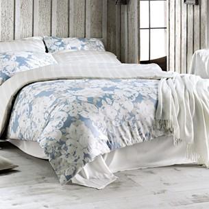 Постельное белье Issimo Home SATIN DECO ROSE хлопковый сатин делюкс белый+голубой евро