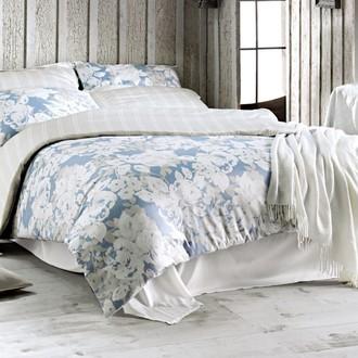 Комплект постельного белья Issimo Home SATIN DECO ROSE хлопковый сатин делюкс белый+голубой