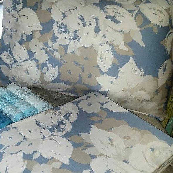 Постельное белье Issimo Home SATIN DECO ROSE хлопковый сатин делюкс белый+голубой евро, фото, фотография