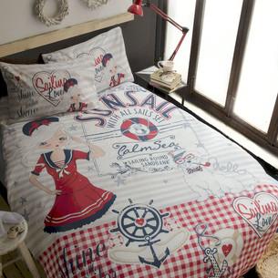 Комплект подросткового постельного белья Issimo Home RANFORCE NAVY GIRL хлопковый ранфорс 1,5 спальный