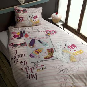 Комплект подросткового постельного белья Issimo Home RANFORCE SHOPPING GIRL хлопковый ранфорс 1,5 спальный