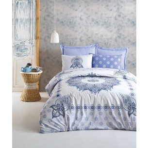 Постельное белье Cotton Box BOHEM OLEDA хлопковый ранфорс голубой евро