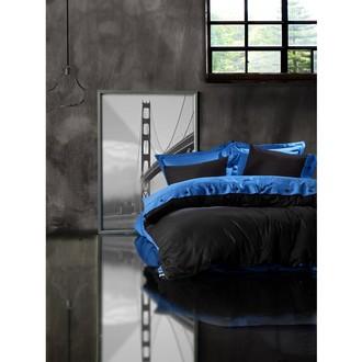 Постельное белье Cotton Box FASHION LINE хлопковый сатин делюкс (голубой+чёрный)