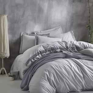 Постельное белье с покрывалом-пике Cotton Box NATURE хлопковый ранфорс серый евро