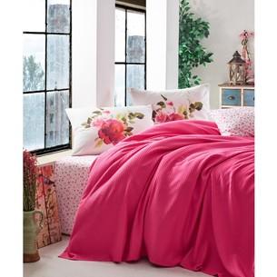 Постельное белье с покрывалом-пике Cotton Box GARDEN ROSE хлопковый ранфорс фуксия 1,5 спальный