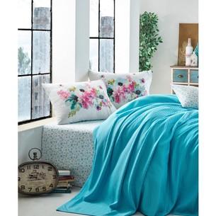 Постельное белье с покрывалом-пике Cotton Box GARDEN JASMINA хлопковый ранфорс бирюзовый 1,5 спальный