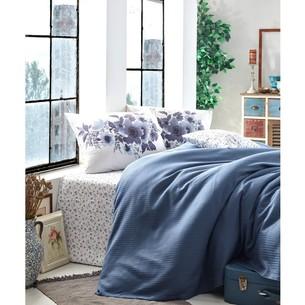 Постельное белье с покрывалом-пике Cotton Box GARDEN ANEMONE хлопковый ранфорс индиго 1,5 спальный