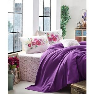 Постельное белье с покрывалом-пике Cotton Box GARDEN VIOLA хлопковый ранфорс фиолетовый 1,5 спальный
