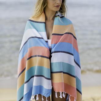 Полотенце пештемаль для пляжа, сауны, бани Begonville CLASSIC CORSICA хлопок (vibes)
