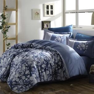 Постельное белье Hobby Home Collection AMALIA хлопковый сатин синий евро