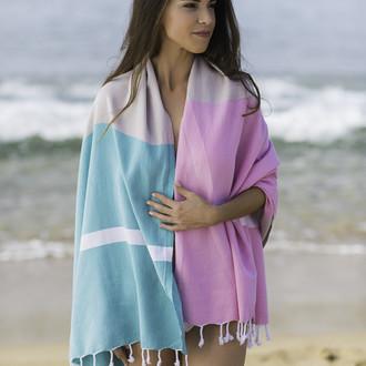 Полотенце пештемаль для пляжа, сауны, бани Begonville CLASSIC BLOCKY хлопок blooming