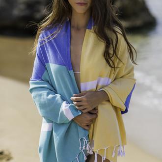 Полотенце пештемаль для пляжа, сауны, бани Begonville CLASSIC BLOCKY хлопок (synergy)