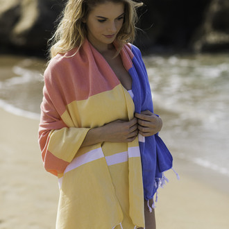 Полотенце пештемаль для пляжа, сауны, бани Begonville CLASSIC BLOCKY хлопок energy