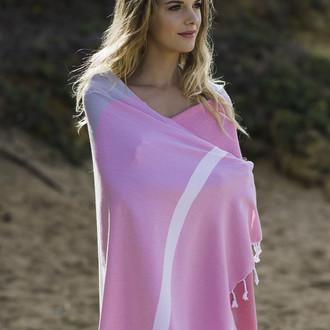 Полотенце пештемаль для пляжа, сауны, бани Begonville CLASSIC BLOCKY хлопок (pinky)
