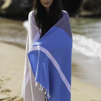 Полотенце пештемаль для пляжа, сауны, бани Begonville CLASSIC BLOCKY хлопок icy