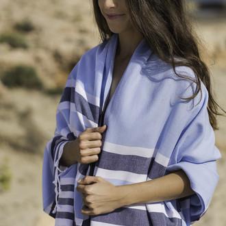Полотенце пештемаль для пляжа, сауны, бани Begonville CLASSIC SAMSARA хлопок blues