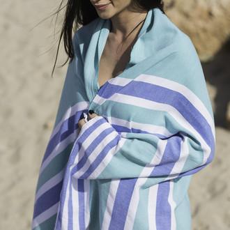 Полотенце пештемаль для пляжа, сауны, бани Begonville CLASSIC SAMSARA хлопок (azure)